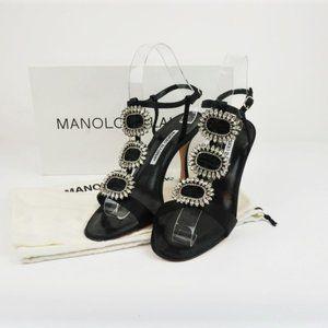 Manolo Blahnik Ochi Crystal Buckle Sandals Black
